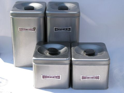 Bon Mod Stainless Steel Canister Set, Vintage Kitchen Canisters