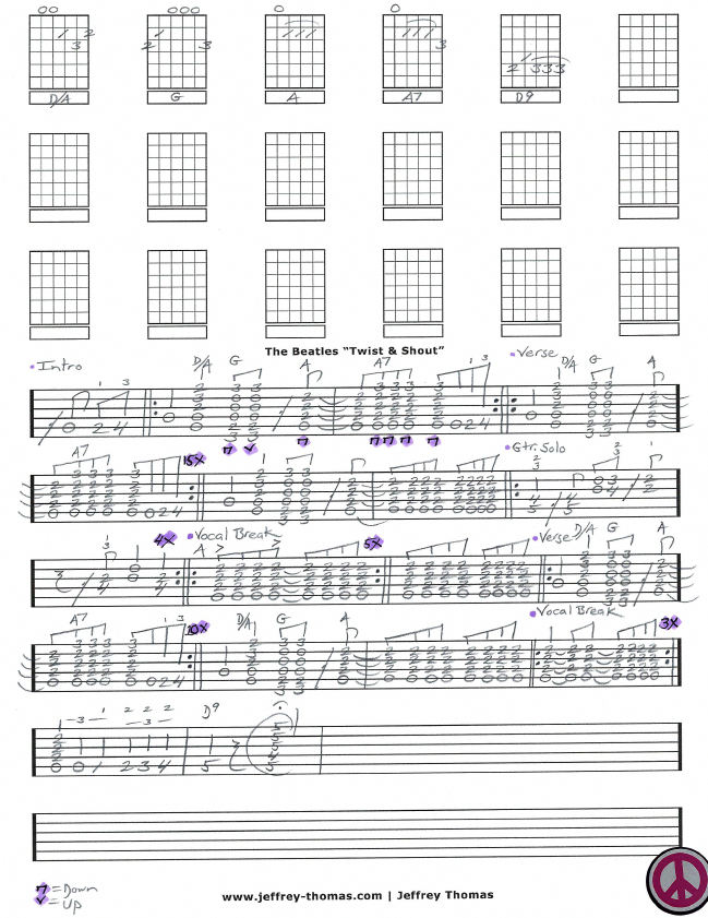The Beatles Twist And Shout Guitar Tab By Jeffrey Thomas Enjoy This