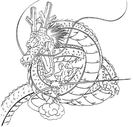 Dragon And Son Goku Coloring Pages For Kids Printable Dragons