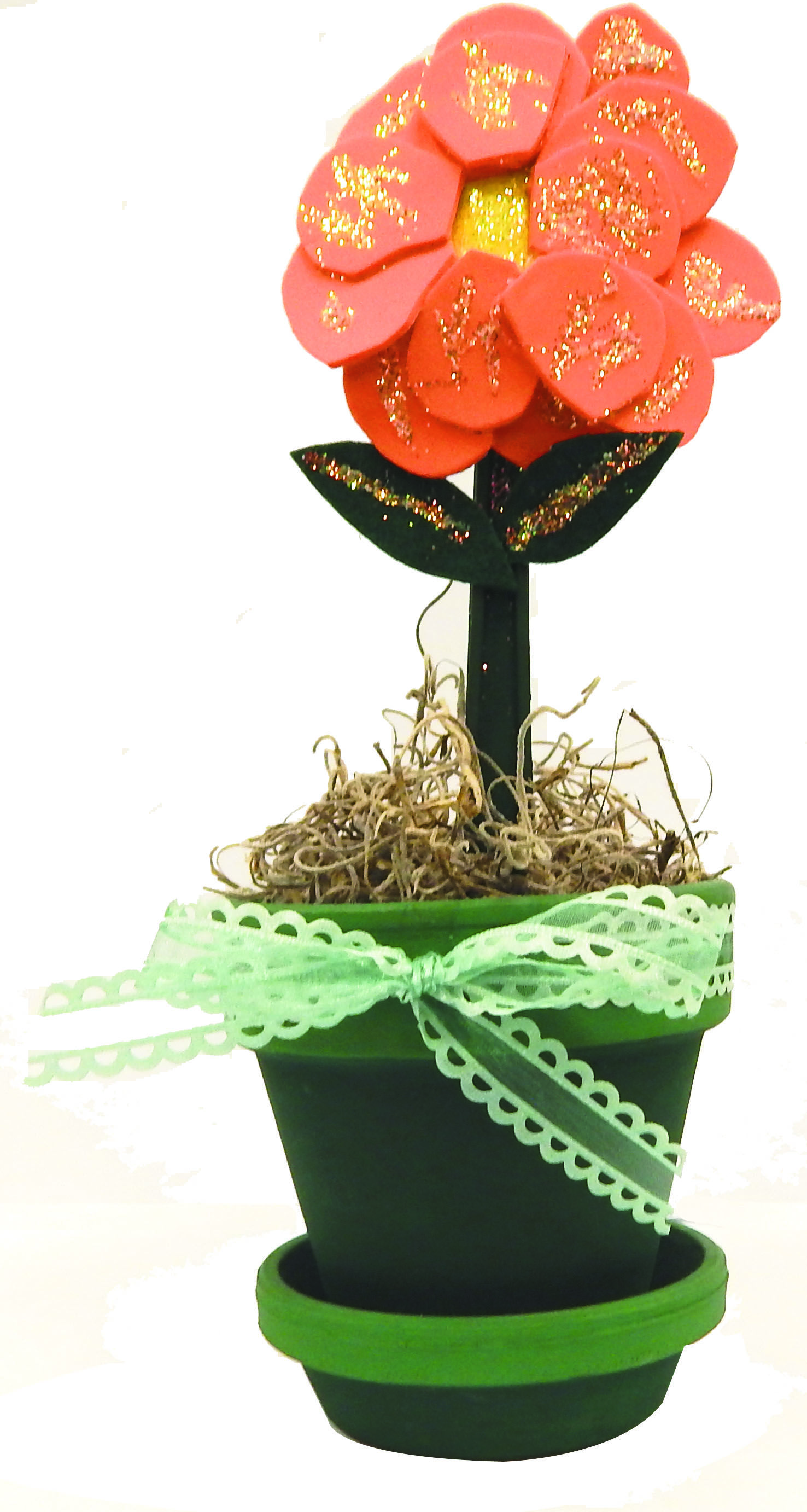 Spoon Flower with Flower Pot Materials Plastic Spoon Colored Felt