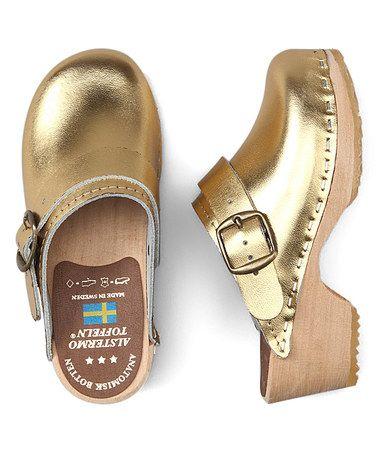 Look at this #zulilyfind! Gold Patent Leather Clog - Kids #zulilyfinds