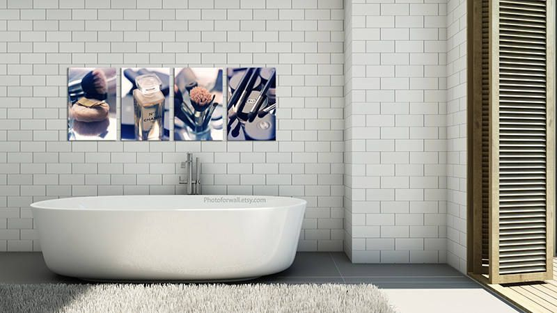 Chanel Bathroom Wall Decor Set Of 4 Prints Of Makeup Photography Vertical Large Canvas Art Bathroom Art Large Wall Art Chanel Decor By Photoforwall On Etsy
