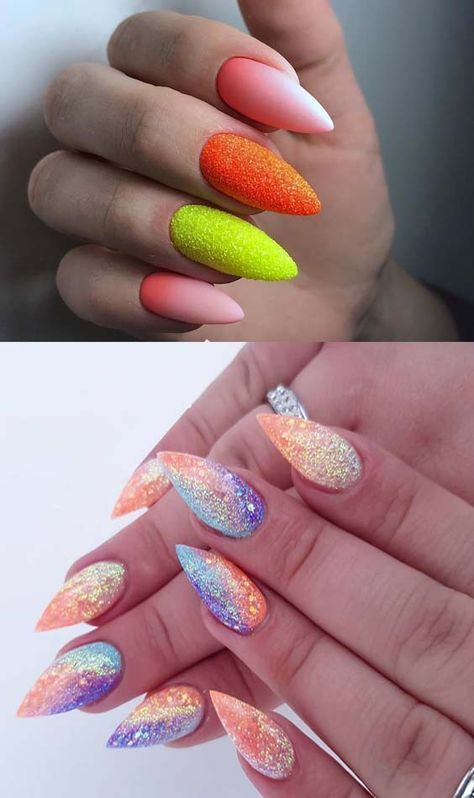 37 Sweet Spring Summer Glitter Nail Art Designs In 2018