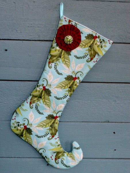 Fancy Aqua Elf Stocking w/ Red yo-yo embellishment ...