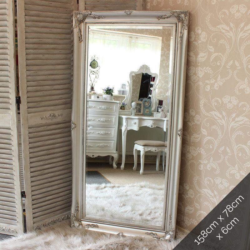 Extra Large Silver Wall Floor Ornate Mirror Bedroom Hall Living Room Vintage