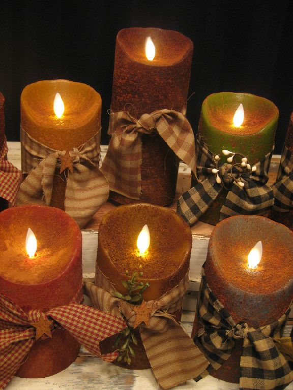 Primitive Flameless Candles Country Primitive Home Decor