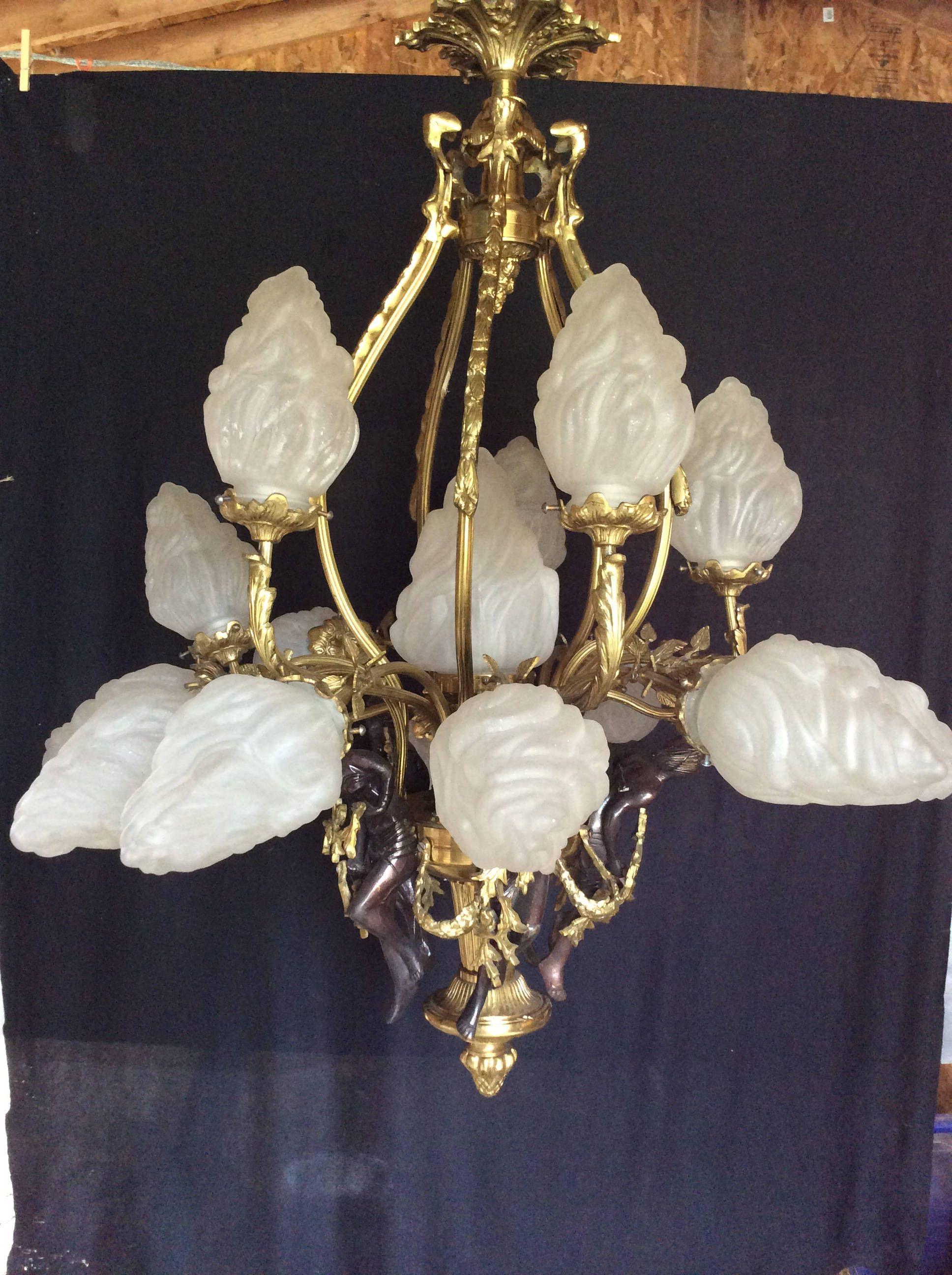 Huge Vintage French Chandelier 16 Stalactite Flame Shades 5 Bronze