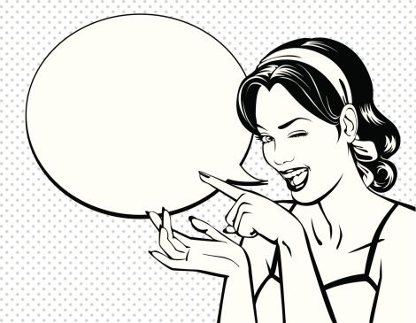 """This kind of vintage illustration. """"use speech bubbles to describe products"""""""