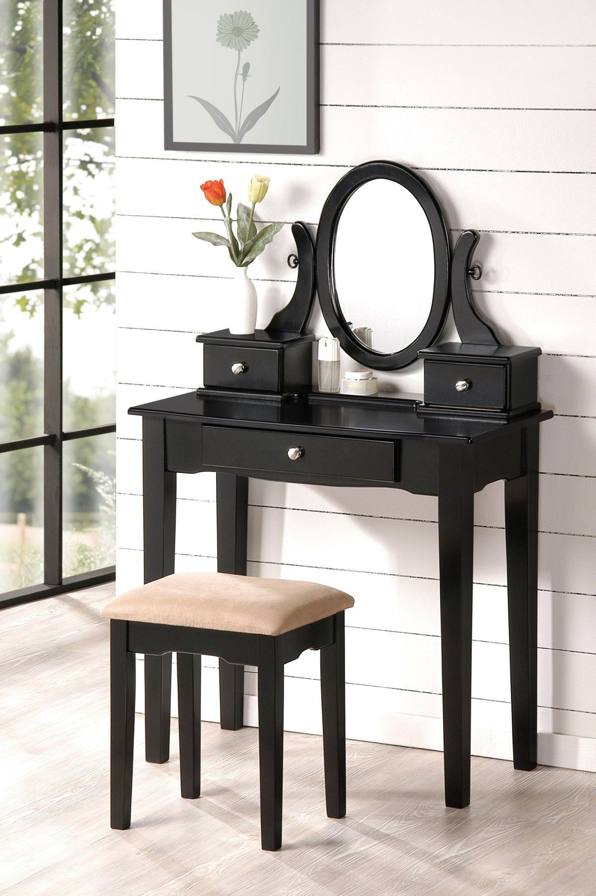 Genial Lovely Oval Mirror Antique Black Vanity Set Make Up Table With 3 Drawers  Bench
