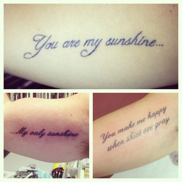 Tattoo Ideas For Your Parents: My Tattoo With My Parents #tattoo #youaremysunshine