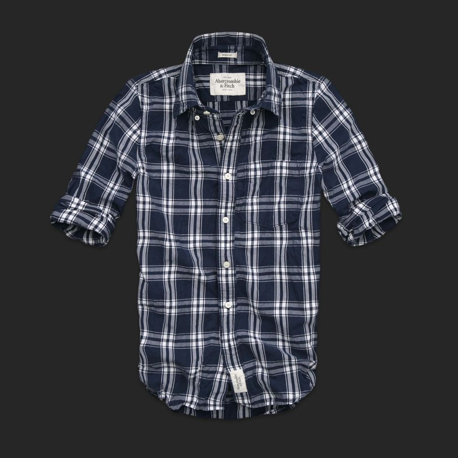 Men Abercrombie & Fitch Fitch Plaid Shirts Navy White | Moda ...