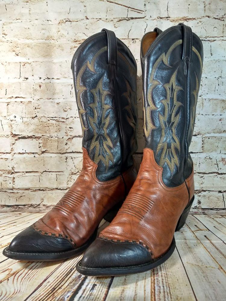 c05c8219323 Vintage Mens Tony Lama Black Brown Lizard Toe Cowboy Boots Size 9.5 ...