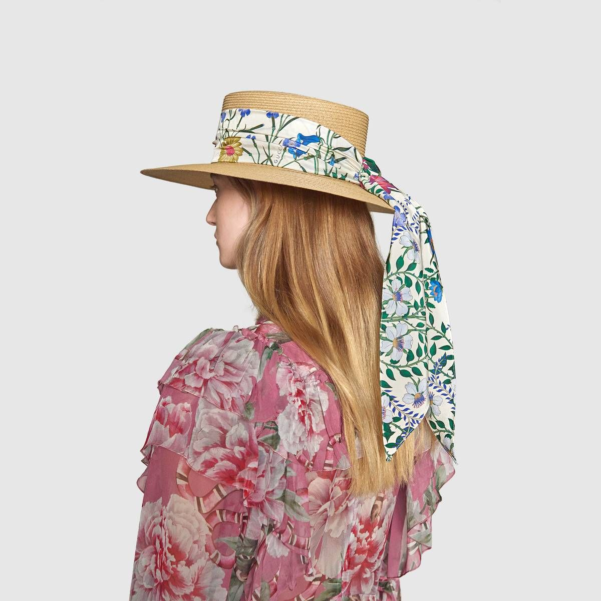 Shop The Papier Hat With New Flora Ribbon By Gucci The Original Flora Print Was Conceived By Italian Artist V Hat Designs Leather Gloves Women Designing Women