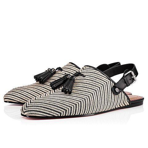 CHRISTIAN LOUBOUTIN Tarek Flat Black/White Rafia - Men Shoes - Christian  Louboutin. #
