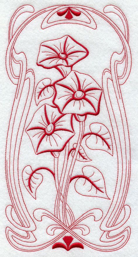 BLOOMING Art Nouveau - MORNING GLORY- Machine Embroidery Quilt Block ...