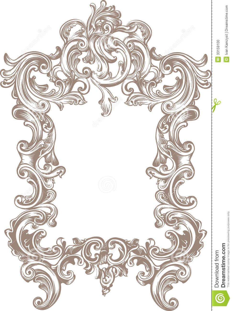 Frame baroque stock photo image 33159100 carving for Miroir style baroque
