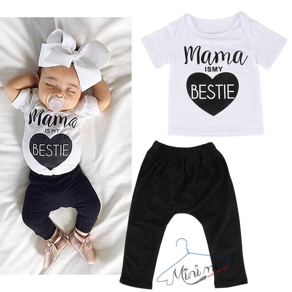 Mini Me T Shirt Pants Mommy Is My Bestie 1 2 Years Old Boys And Girls Clothes Kids Outfits Girls Boy Outfits
