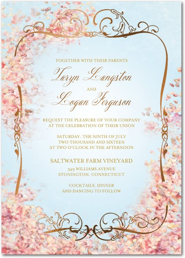Perfect Paradise Signature Foil Wedding Invitations In Lightest Turquoise Or Sheer Lilac Claire Pettibone