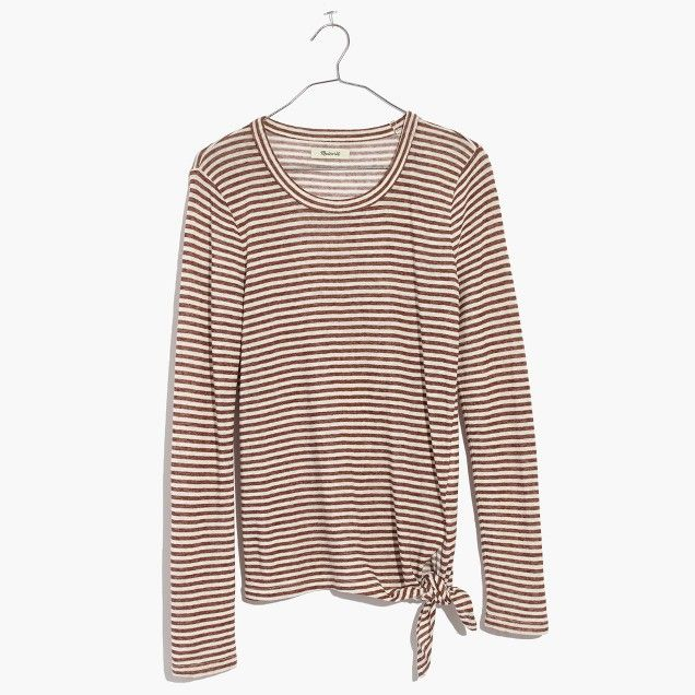 Soundcheck Side-Tie Tee in Stripe Russet brown size XS