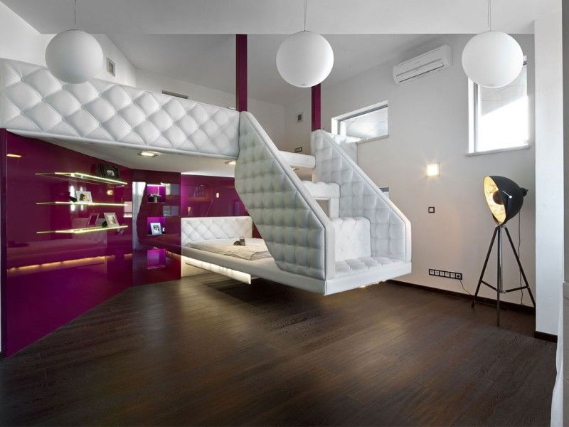 House In Dnepropetrovsk By Yakusha Design Teenager Rooms Modern - Modern purple bedroom ideas