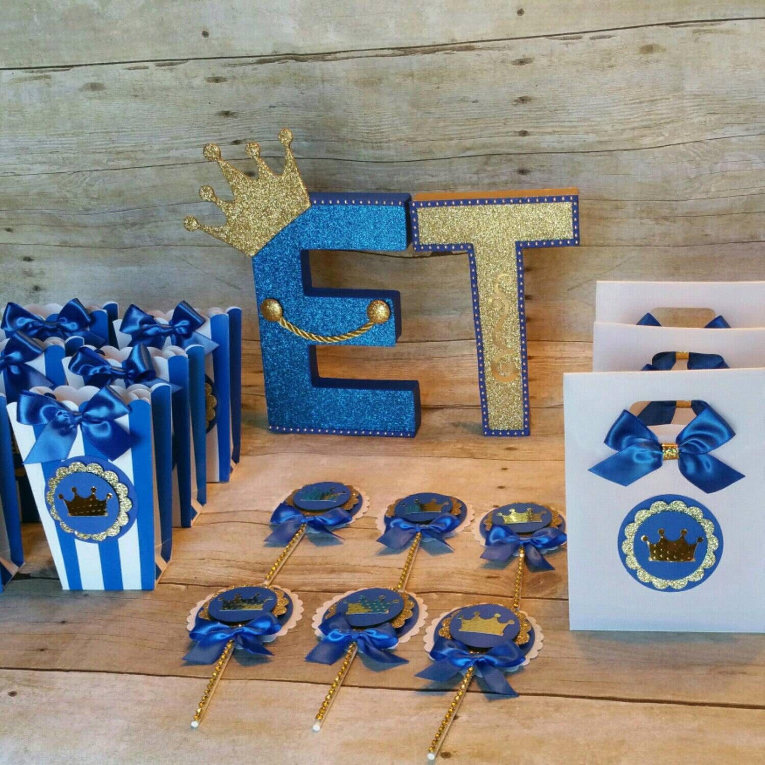 Royal Blue gold party Prince Party Favor CrownTreat Bags Baby Boy