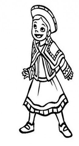 peru childrens national costumes traditional dress kids coloring pages and free colouring pictures - Childrens Colouring
