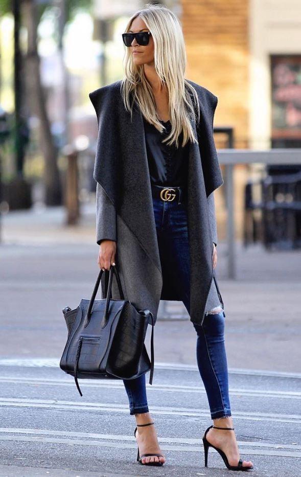 NYFW Fall/Winter 2017, Street Style, Grey Coat, Tan Blanket Scarf, Denim Skinny Jeans, Celine