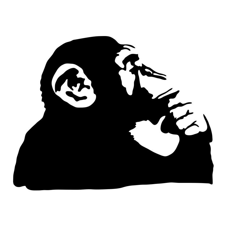 Banksy thinking monkey wall decals banksy wall decals and walls banksy thinking monkey wall decals amipublicfo Gallery