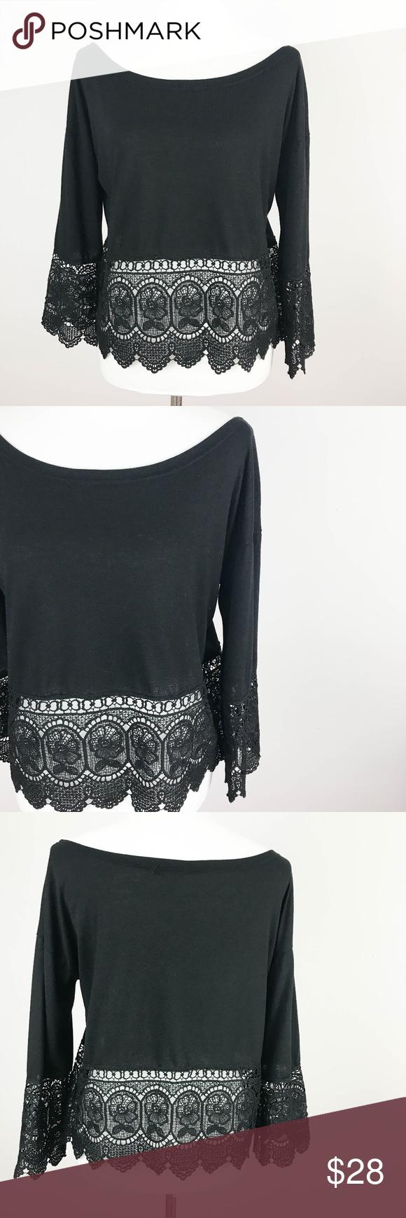 98f1ef749d5f42 Mix Max Knit Crop Top Large Black Sheer Crochet Mix Max Women s Knit Crop  Top Large