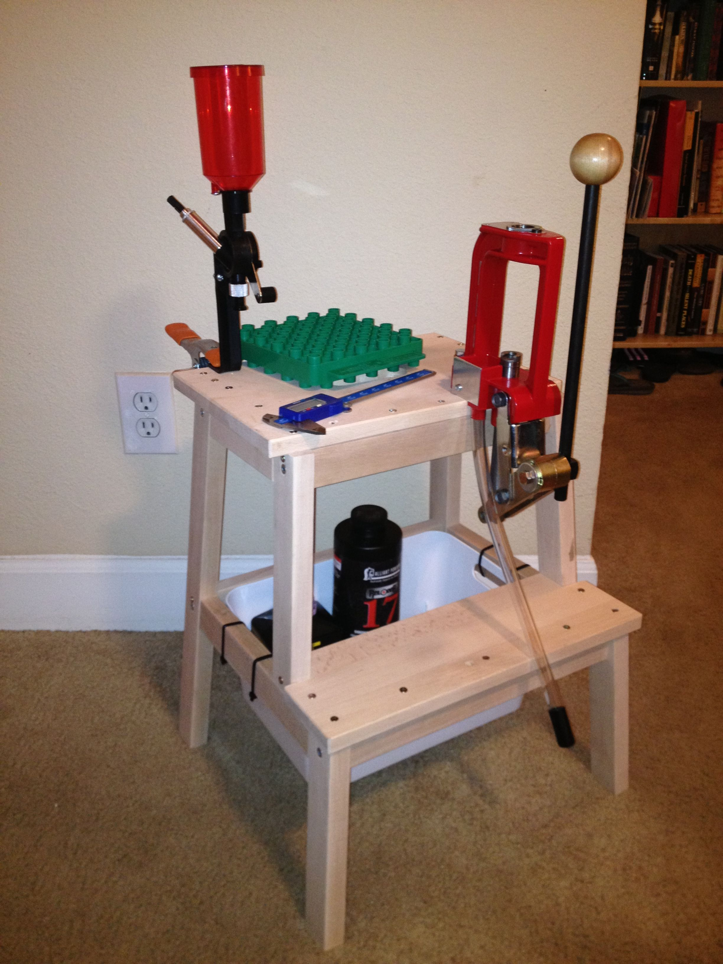 Logan S Home Made Bulletin Reloading Kit Stand 14 Dollar Stool And Bucket Screwed To It From Ikea And O Reloading Bench Reloading Bench Plans Reloading Press