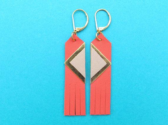 Sinki sleepers coral navajo style in leather fringe earrings... cool!