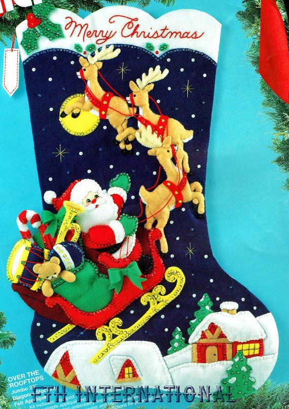 Bucilla Over The Rooftops 28 Jumbo Felt Christmas Stocking Kit