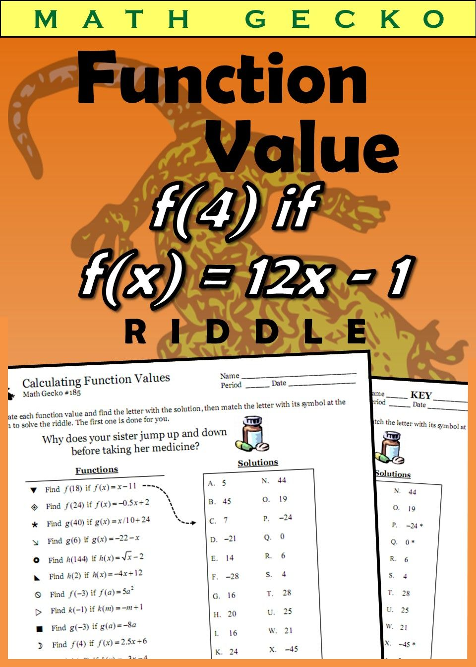 185 Calculating Function Values Riddle High School Fun Teaching High School Math Resources