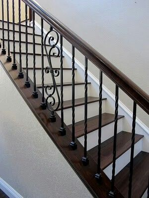 Love The Metal Railing Paired With The Rich Dark Banister