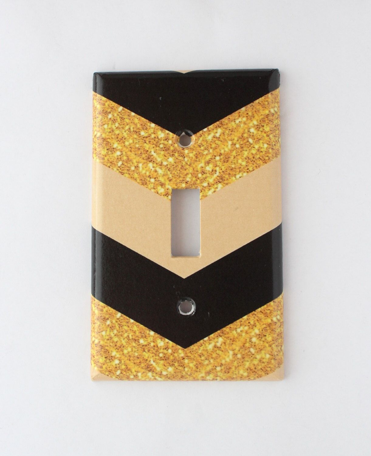 Gold Glitter paper chevron black tan light light switch cover wall ...