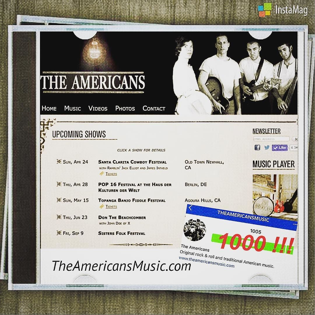 @theamericansmusic is over 1000 fans   The Americans will join Santa Clarita Cowboy Festival on Apr 24th and POP 16 Festival at the Haus der Kulturen der Welt with the German premiere of @AmericanEpic on April 28.  The Americans is Patrick Ferris (vocals guitar) Zac Sokolow (guitar) Jake Faulkner (bass) and Tim Carr (drums). @theamericansmusic   www.theamericansmusic.com  Twitter @AmericansMusic  https://www.facebook.com/theamericansmusic…