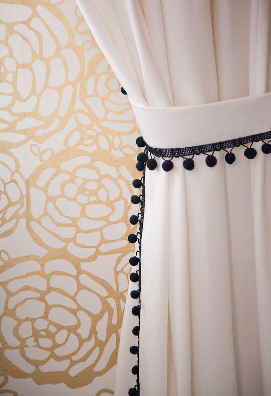 Christine Dovey Pine Girls Room 9 Pom Pom Curtains Gold