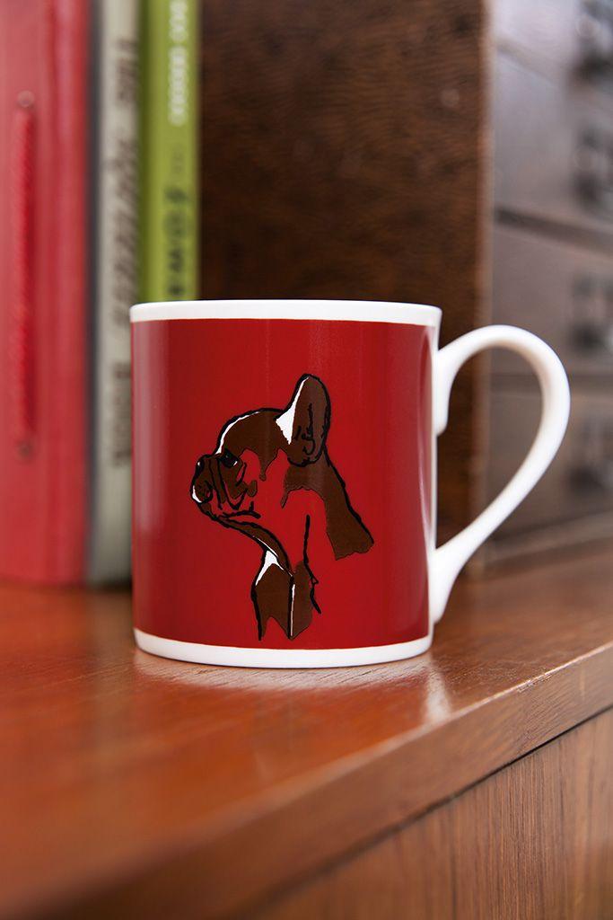 ©TANNEN_BROWN - Fine Bone China, Hand Printed Mug - French Bulldog