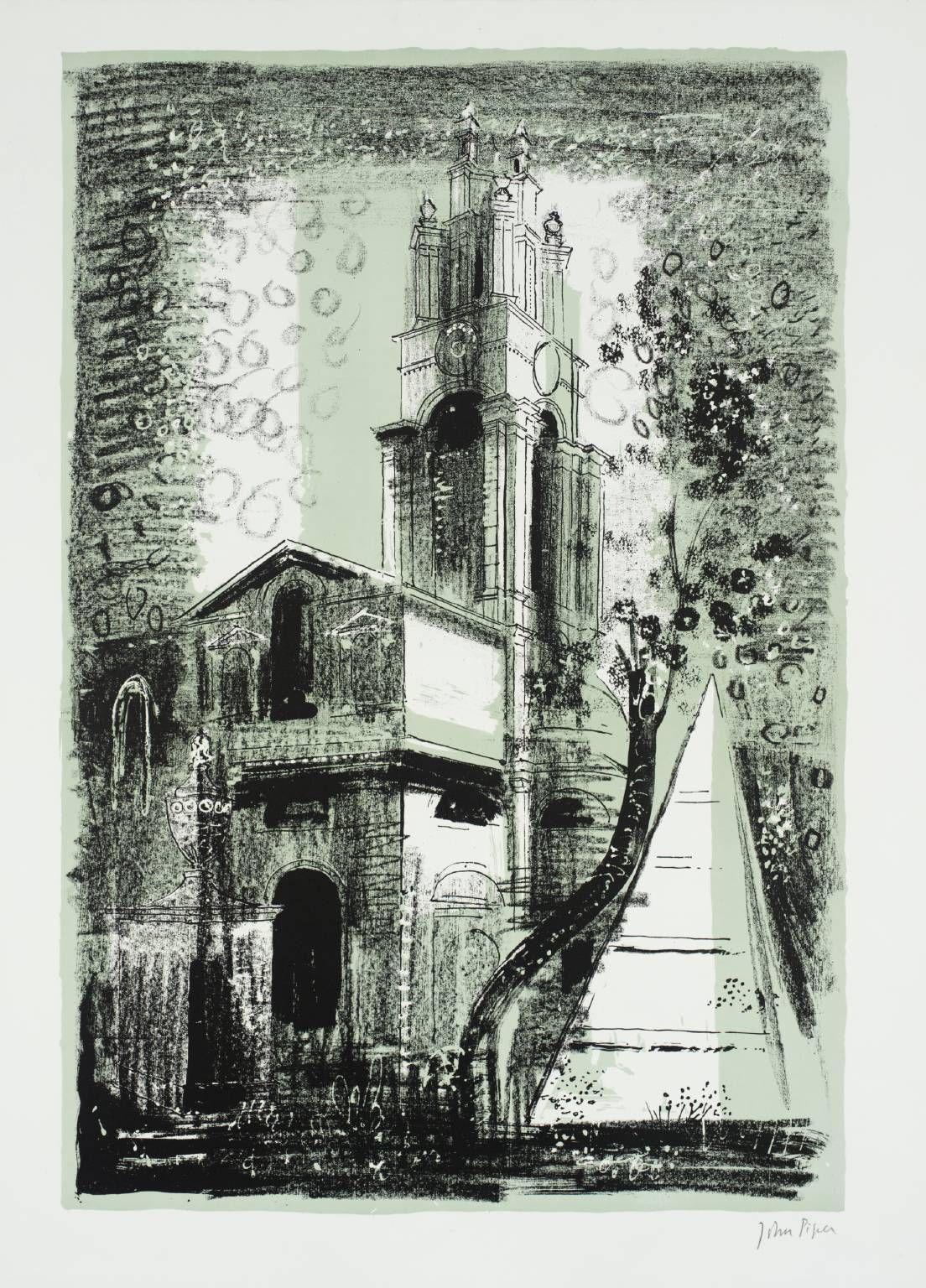 John Piper, 20. St Anne's, Limehouse, London: by Nicholas Hawksmoor 1964