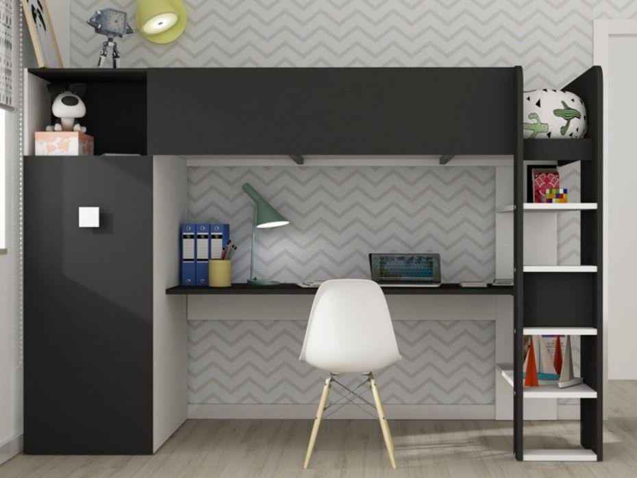 Lit Mezzanine Tobie Armoire Et Bureau Integres 90x200cm Blanc Et Anthracite En 2020 Chambre A Coucher Rustique Lit Et Lit Enfant
