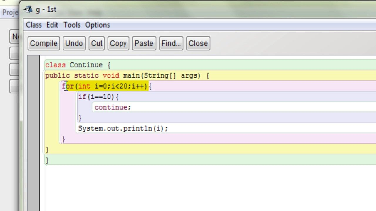 Java continue statement example for beginners java
