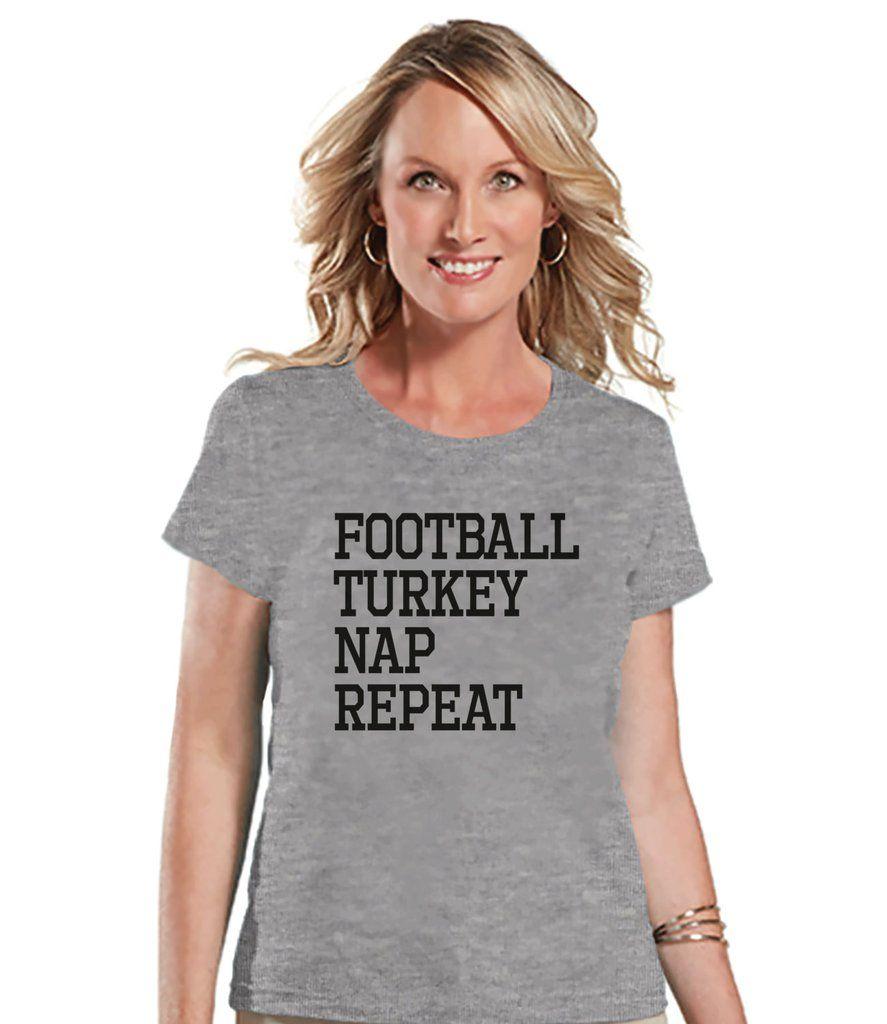 Football Turkey Nap Repeat Shirt - Funny Food Tshirt - Funny Women's Thanksgiving Dinner Shirt - Ladies Grey T-shirt - Funny Food Shirt
