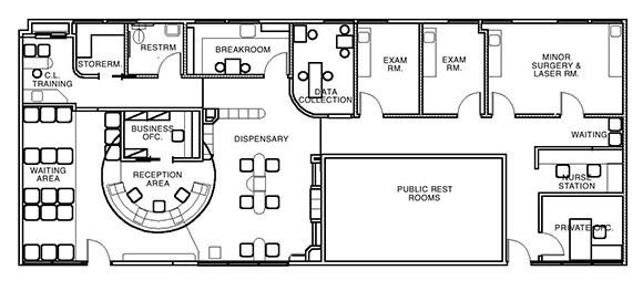 Doctor 39 s office layout plans for Long narrow office layout