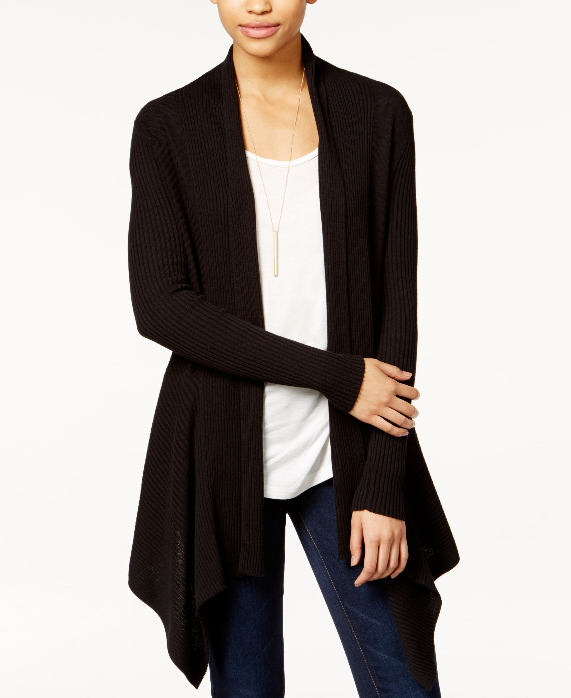 Bar Iii Ribbed Waterfall Cardigan, Only at Macy's | Clothes I own ...