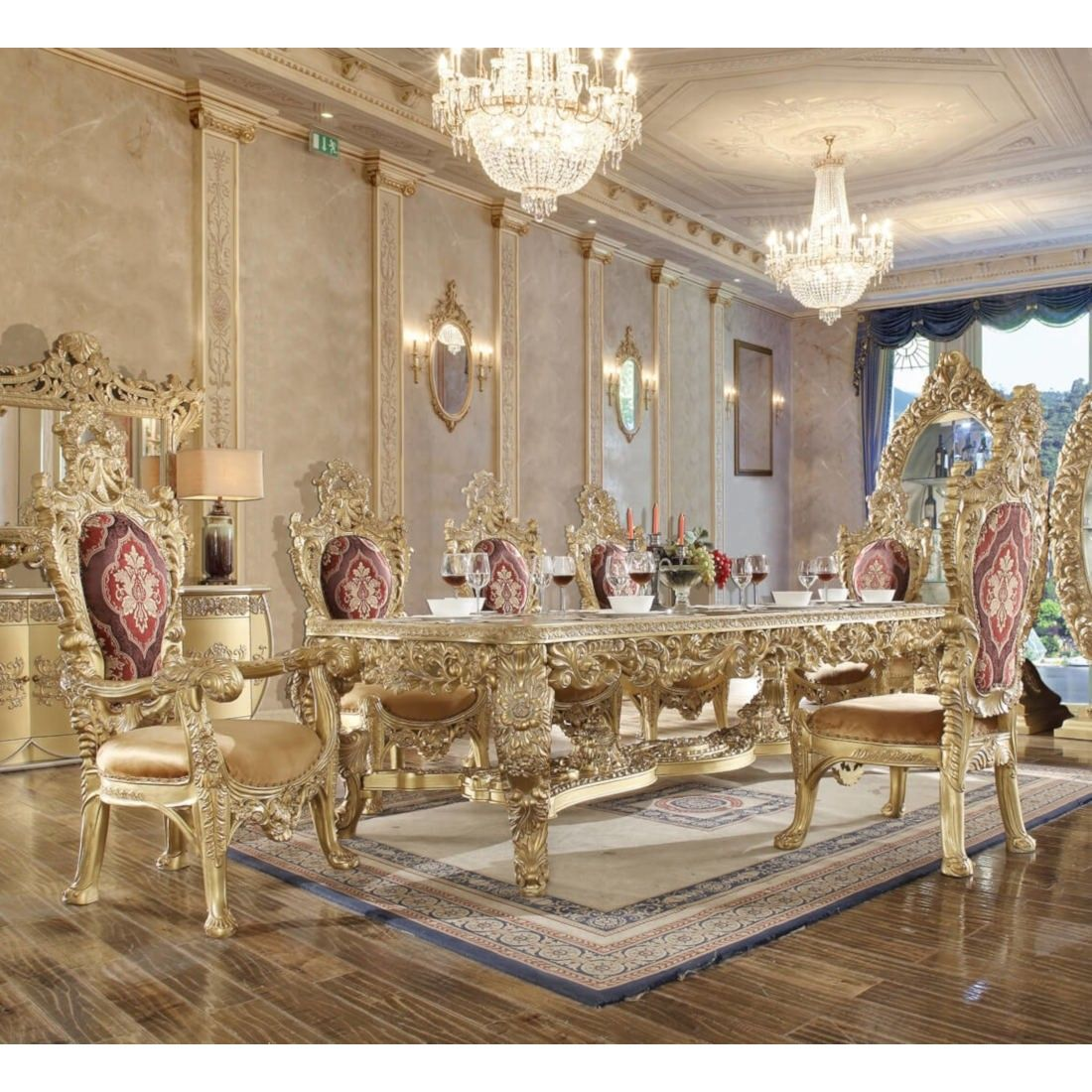 Elegant Tableware For Dining Rooms With Style: Homey Design HD-8086 7pc Long Dining Table Set In Gold