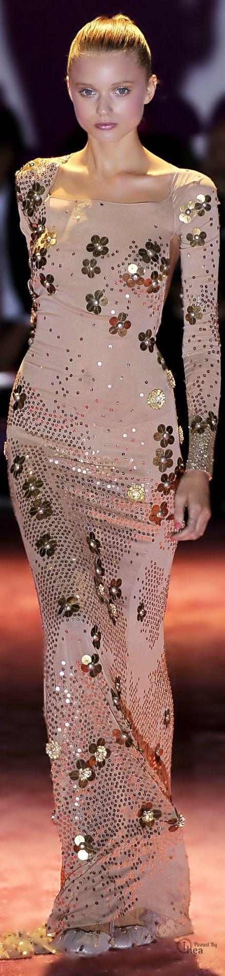 Zac Posen ~ Elegant Form Fitting Gown, Blush w Gold embellishments