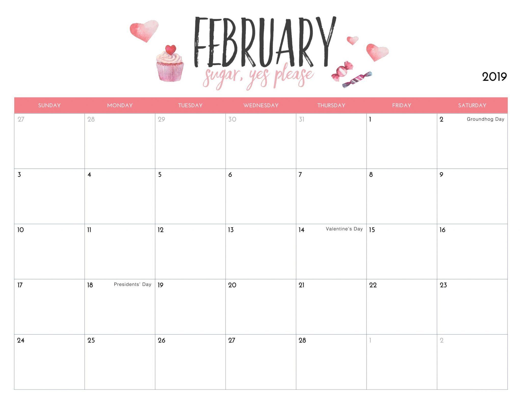 cute february 2019 calendar printable  feb  february2019  februarycalendar2019  cutecalendar
