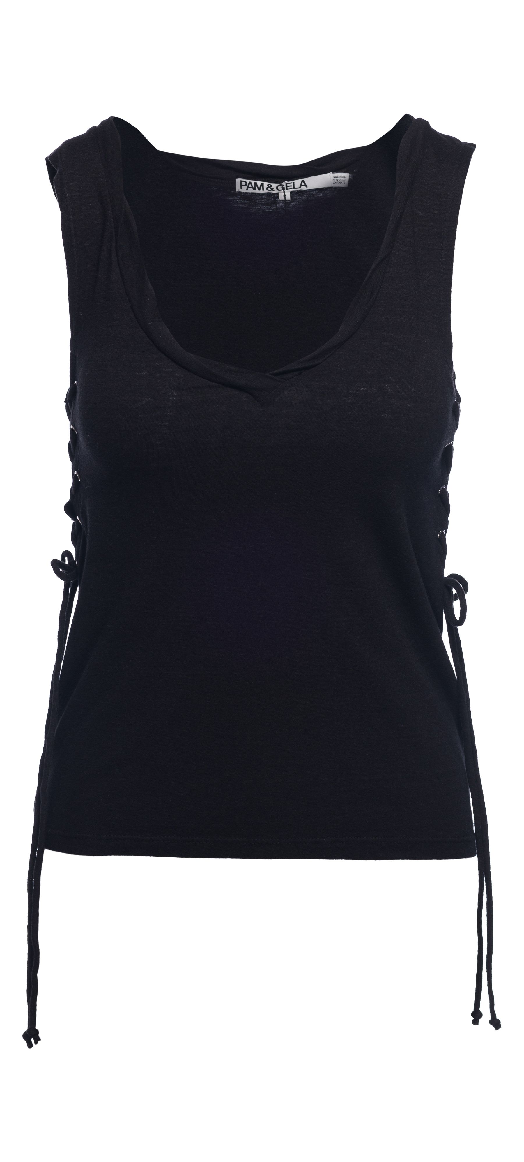 Pam & Gela Side Lace Up V-Neck in Black / Manage Products / Catalog / Magento Admin