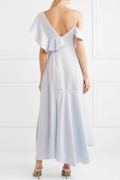 Asymmetric Ruffled Crepe Midi Dress - Sky blue ADEAM ZGGaxaFYPE