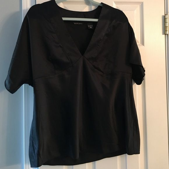 Silky Ny and Co top This silky black top looks great with jeans and heels. The sleeves flutter and are very flattering! New York & Company Tops